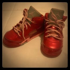 Girls Jordan's shoes/ metallic red, pink and gray